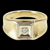 10K 0.18 Ct Diamond Solitaire Curved Band Wedding Ring Size 8.75 Yellow Gold [QRQQ]