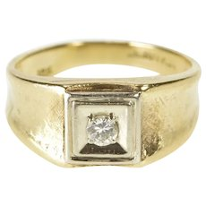 10K 0.18 Ct Diamond Solitaire Curved Band Wedding Ring Size 8.75 Yellow Gold [QRXW]