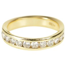 14K 0.66 Ctw Channel Inset Diamond Wedding Band Ring Size 8.75 Yellow Gold [QRXW]