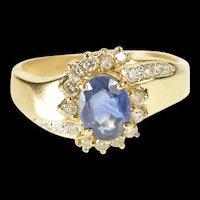 14K 1.30 Ctw Oval Sapphire Diamond Halo Bypass Ring Size 6.25 Yellow Gold [QRQQ]
