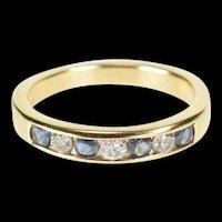 14K 0.42 Ctw Diamond Sapphire Wedding Band Ring Size 6.25 Yellow Gold [QRQQ]