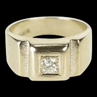 14K 0.36 Ct Men's Diamond Retro Solitaire Wedding Ring Size 9.75 Yellow Gold [QRQQ]