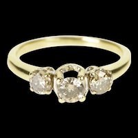 10K 0.75 Ctw Three Stone Diamond Engagement Ring Size 6.75 Yellow Gold [QRQQ]