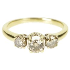 10K 0.75 Ctw Three Stone Diamond Engagement Ring Size 6.75 Yellow Gold [QRXW]