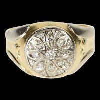 14K 0.35 Ctw Diamond Ornate Two Tone Men's Ring Size 11.75 Yellow Gold [QRQQ]