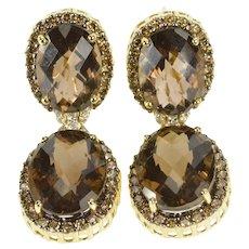 14K 31.10 Ctw Smokey Quartz Diamond Halo Dangle Earrings Yellow Gold [QRQQ]