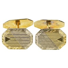 10K Ornate Two Tone Patterned Art Deco Cuff Links Yellow Gold [QRQQ]