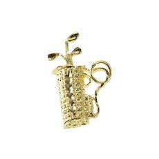 14K Diamond Cut Golf Club Bag Golfer Sports Charm/Pendant Yellow Gold [QRQQ]