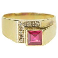 14K Square Syn. Ruby Diamond Men's Fashion Ring Size 11.5 Yellow Gold [QRQQ]