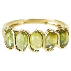 14K Oval Peridot Five Stone Wavy Design Band Ring Size 8 Yellow Gold [QRXC]