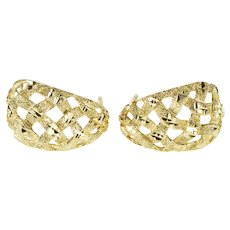 10K Textured Curved Lattice Semi Hoop Earrings Yellow Gold [QRQQ]