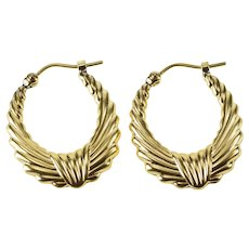 14K Retro Puffy Grooved Pattern Oval Hoop Earrings Yellow Gold [QRQQ]