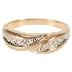 14K Satin Finish Diamond Inset Criss Cross Band Ring Size 8.5 Rose Gold [QRXC]