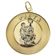 14K Michelangelo La Pieta Two Tone Art Sculpture Charm/Pendant Yellow Gold [QRQQ]