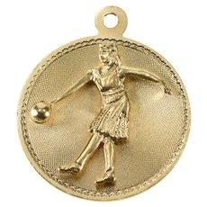 14K Retro Ornate Bowling Bowler Sports Charm/Pendant Yellow Gold [QRQQ]