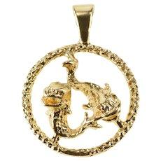 14K Retro Stylized Pisces Astrological Zodiac Charm/Pendant Yellow Gold [QRQQ]