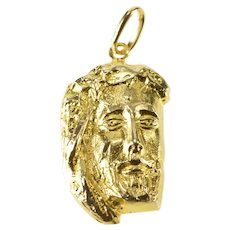 14K Ornate Jesus Christ Face Christian Faith Charm/Pendant Yellow Gold [QRQQ]