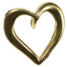 10K Curvy Petite Heart Love Valentine Gift Charm/Pendant Yellow Gold  [QRXC]