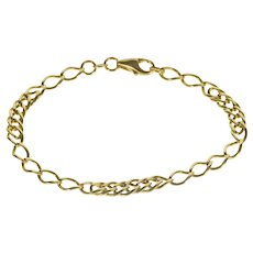 """18K 5.1mm Patterned Ornate Curb Link Chain Bracelet 7"""" Yellow Gold  [QRXQ]"""