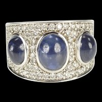 18K 9.75 Ctw Oval Sapphire Diamond Pave Ornate Ring Size 7.75 White Gold [QRQQ]