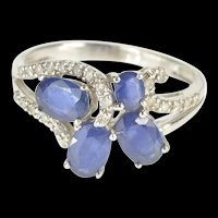 14K 1.50 Ctw Oval Sapphire Diamond Floral Design Ring Size 6 White Gold [QRQQ]
