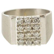 14K 3/4 Ctw Diamond Squared Design Men's Fashion Ring Size 10.75 White Gold [QRQQ]
