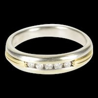 14K 0.15 Ctw Two Tone Diamond Men's Wedding Band Ring Size 11.75 White Gold [QRQQ]