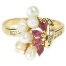 18K 0.70 Ctw Ruby Diamond Pearl Ornate Cluster Ring Size 6 Yellow Gold [QRXC]