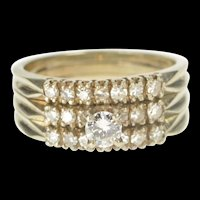 14K 0.85 Ctw Diamond Engagement Bridal Set Ring Size 8.25 White Gold [QRQQ]