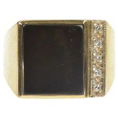10K Square Black Onyx Diamond Accent Men's Fashion Ring Size 9.5 Yellow Gold [QRQQ]
