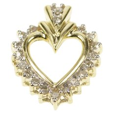 10K 0.20 Ctw Diamond Heart Valentine's Day Love Pendant Yellow Gold  [QRXC]