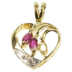 14K Marquise Ruby Diamond Accent Heart Love Pendant Yellow Gold [QRQQ]