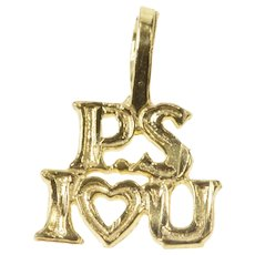 14K PS I Love You Romantic Valentine Gift Charm/Pendant Yellow Gold  [QRXC]