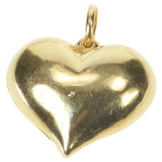 14K Puffy Heart Love Symbol Valentine Romantic Charm/Pendant Yellow Gold  [QRXC]