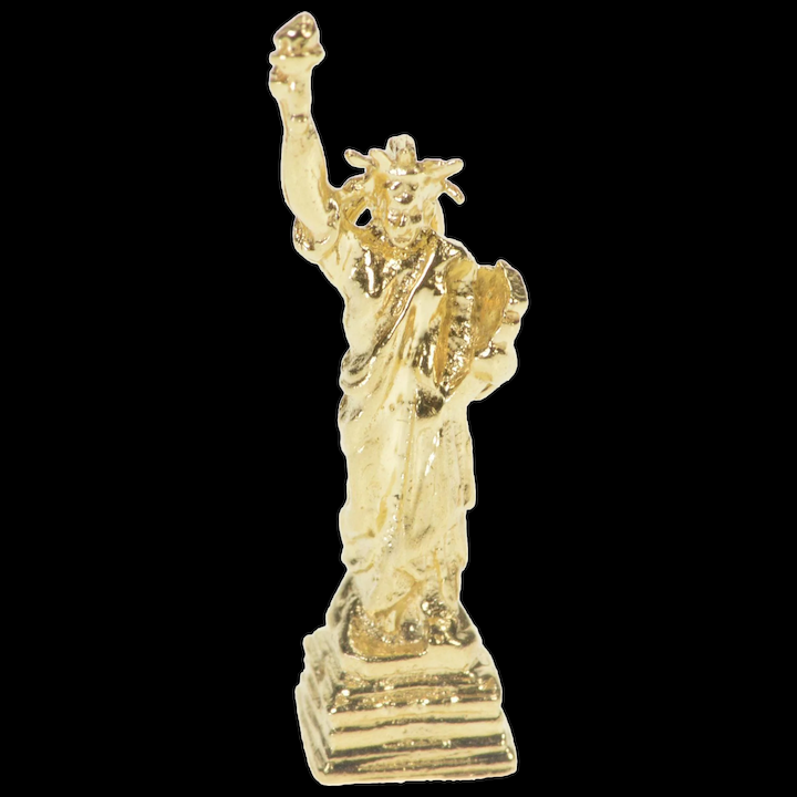 14K Yellow Gold Vintage Statue of Liberty NYC Pendant