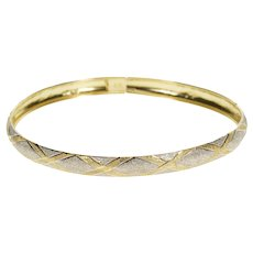 "10K 6.3mm Two Tone Pitted Texture Plaid Bangle Bracelet 7.75"" Yellow Gold  [QRXC]"