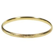 """14K 4.8mm Ornate Etched Floral Design Oval Bangle Bracelet 7"""" Yellow Gold  [QRXC]"""