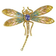 14K Art Nouveau Diamond Sapphire Enamel Dragonfly Pin/Brooch Yellow Gold [QRQQ]