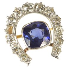 14K 3.50 Ctw Victorian Sapphire Diamond Horseshoe Pin/Brooch Yellow Gold  [QRXT]