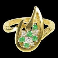 18K Van Clief Emerald Diamond Retro Flame Cocktail Ring Size 6.5 Yellow Gold [QRXK]