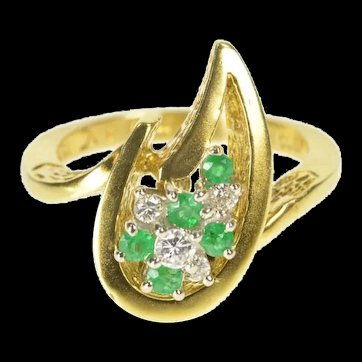 18K Van Clief Emerald Diamond Retro Flame Cocktail Ring Size 6.5 Yellow Gold [QRQQ]