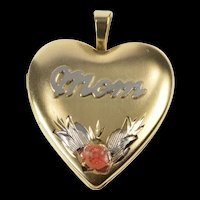 14K Enamel Rose Mom Heart Locket Mother's Day Pendant Yellow Gold  [QRXK]