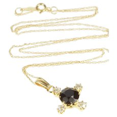 "14K Round Black Onyx Diamond Compass Chain Necklace 18"" Yellow Gold  [QRXK]"