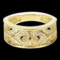 14K Heart Swirl Design Encrusted Graduated Band Ring Size 7 Yellow Gold [QRXK]