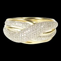 14K Pave Diamond Encursted X Criss Cross Band Ring Size 10.25 Yellow Gold [QRXK]