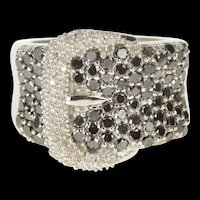 10K Pave Black & White Diamond Belt Buckle Band Ring Size 6 White Gold [QRXK]