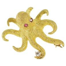 18K 3D Ruby Diamond Octopus 3D Pitted Texture Pin/Brooch Yellow Gold [QRQQ]