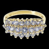 10K Round Tanzanite Cluster Cocktail Statement Ring Size 9 Yellow Gold [QRXS]