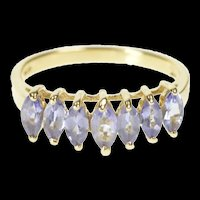 10K Tiered Marquise Tanzanite Gradauted Band Ring Size 7 Yellow Gold [QRXS]