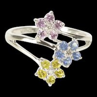 10K Flower Cluster Pink Blue Yellow Syn. Sapphire Ring Size 7 White Gold [QRXS]